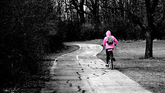 turtle head lake bike path (timp37) Tags: park street camera pink white lake black color bike bicycle forest canon easter point march tim illinois spring oak woods shoot head turtle path harlem powershot il hills jacket rider preserve 31st selective orland turtlehead 135th sx260 fp2014cc