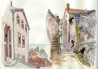 Luzech, l'escalier de la Pistoule