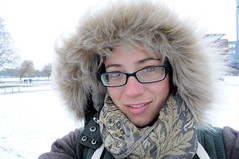 82.365 spring snow (charlottehbest) Tags: white snow scarf portraits atarmslength fur glasses spring snowy hood 365 day82 selfies project365 365days 2013 82365 charlottehbest 3652013