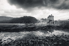 Eilean Donan Castle (Philipp Klinger Photography) Tags: uk greatbritain bridge sky bw cloud white lake black reflection skye castle nature water clouds reflections landscape island scotland blackwhite hi