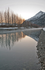 040413 - Sunrise on the Eklutna channel of the Knik River (Nathan A) Tags: morning mountains alaska river landscape outdoors spring glenn palmer glacier valley peaks range knik chugach floodplain oldglenn