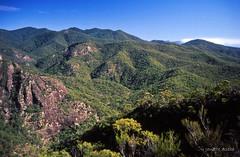 Looking up Barney Creek, 1994 (NettyA) Tags: park clouds canon rocks fuji mt australia velvia national bushwalking scanned queensland 1994 barney seq eos500 35mmslidefilm barneycreek eaglesridge