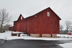Late March snow storm (tshiverd) Tags: ohio red snow barn farm 2013 bankbarn