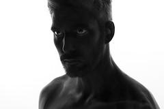 Out Of The Light (JuEmsley) Tags: light portrait people selfportrait man black canon studio weird eyes paint photoshoot 5d dslr speedlight strobe 5dmk3