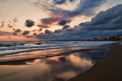 ... (Theophilos) Tags: sea sky reflection beach clouds sunrise crete rethymno