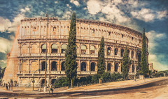 Rome, Colosseum (Luc Mercelis) Tags: italy panorama rome roma colors it colosseum lazio sonyslt77v vertoramacolosseumrome minoltaprimelens24mm