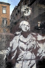 Banksy's Madonna Walks in Girolamini (martinogiaquinto) Tags: naples banksy art street graffito writers reflection optical effect madonna gerolamini mistery smartphone
