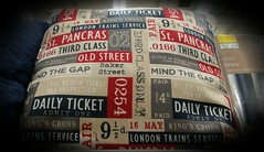 220 of 366 (I line photography) Tags: 365project cushion softfurnishings travel red blue cream london stations tickets blueblack