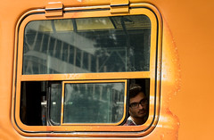 'Nothing rhymes with orange ... ' (Canadapt) Tags: tram trolley streetcar man framed window orange reflection toronto canadapt