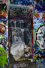 rough sleeping in Melbourne (Toky, Lily and George moments) Tags: homeless shelter melbourne wallart graffiti sad quarter bed belongings outcast australia cbd downtown sleepingrough streetphotography