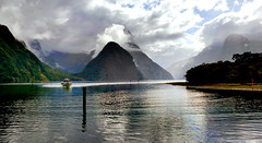Milford Sound Fiordland NZ. (Bernard Spragg) Tags: fiordlandnationalpark newzealand weather clouds lumixfz1000 milfordsound scenery seascape travel mitrepeak