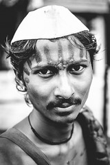 Pune, Maharashtra, India August 2016 (Anant N S (www.thelensor.tumblr.com)) Tags: pune maharashtra india indian man streetphotography streetportraiture portrait blackandwhite monochrome tilak forehead