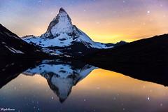 Matterhorn at morning glow (StephAnna :-)) Tags: alpen berge bergsee gebirge lake landschaft langzeitbelichtung matterhorn mirror nacht nachtaufnahme riffelsee schweiz see spiegelung suisse switzerland zermatt landscape longexposure mirroir montagne night nuit