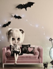 A View from a Room (Lawdeda ) Tags: jonathan adler barbie couch blythe doll grumpy cat grumpycat fbl custom by erin deir tiny bats lights kittens pumpkin halloween view room picmonkey