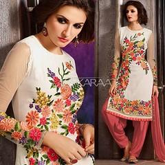 Ivory White and Blush Georgette Embroidered Punjabi Suit (lashkaraafashion) Tags: punjabisuits embroideredpunjabisuits palazzosuits salwarkameez