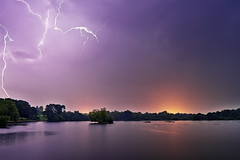Three strikes, and out! [Explored] (Langstone Joe) Tags: lightning storm electricalstorm petersfieldheathpond lake hampshire night nightscape