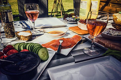 Lunch on the terrace (Melissa Maples) Tags: grsebakkeby denmark europe apple iphone iphone6 cameraphone ros glass wine alcohol drink food summer lunch salmon garden alfresco table
