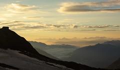 Early morning from the Mullerhutte, Stubai Alps, Austria (Explored, 20 Sept 2016) (Miche & Jon Rousell) Tags: stubai stubital alps austria austrianalps tyrol mairspitze wilderfreiger botzel wilderpfaff zuckerhutl mullerhutte glacier sunrise yellow