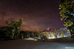 milky way rising ([nosamk] KMason photography) Tags: longexposure trees sky mountain snow night stars washington nationalpark unitedstates milkyway deming mountshuksan sigma15mmf28exdgdiagonalfisheye