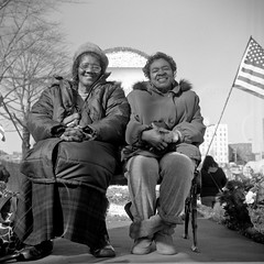 (patrickjoust) Tags: people bw woman usa white black 120 6x6 tlr blancoynegro film home smile analog america lens person us reflex md focus fuji mechanical united north patrick twin maryland baltimore parade celebration medium format states manual 80 joust ricoh develop estados superricohflex paradefloat f35 blancetnoir unidos schwarzundweiss fujifilmneopan100acros autaut martinlutherkingjrparade patrickjoust developedinrodinal