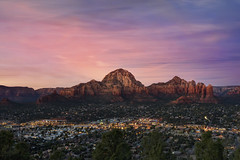 Sedona (Lee Sie) Tags: pink blue sunset arizona sky vortex streets colors rock night clouds lights town view purple cloudy sedona cliffs amitabhastupa formations uwb