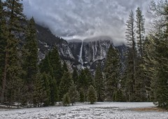 Sentinel Beach Area - Yosemite Falls_HDR2 (rschnaible) Tags: california park longexposure trees winter usa snow storm mountains cold west tree clouds forest landscape us floor cloudy stormy sierra national valley yosemite western hdr nevadas