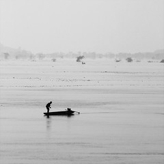 Fishing on the Mekong, Laos (violinconcertono3) Tags: trees blackandwhite water boats fisherman asia dusk laos minimalist davidhenderson mekongriver londonphotographer 19sixty3