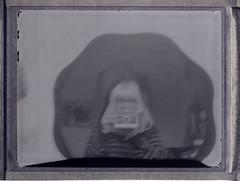 Reversed Ego. (Bea Starr Dewhurst) Tags: self polaroid mirror blackwhite scan backwards instant reverse invert negs polaroidland