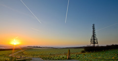 Pale Heights Sunrise (stumpyheaton) Tags: morning blue sky panorama green tower grass plane sunrise landscape nikon cheshire hill trails pale heights vapour delamere d5100