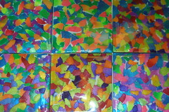 Covered with resin (klio1961) Tags: handmade unique oneofakind decorative polymerclay fimo resin madebyme coasters shimmering pardo cernit premo micapowders setof6 tornpapertechnique decoratedobjects