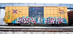 Pear, Stue (TheHarshTruthOfTheCameraEye) Tags: california 30 train graffiti dirty southern pear d30 freight nsf stue thr tbox ttx dirty30 benching n4n freighttraingraffiti ftmd