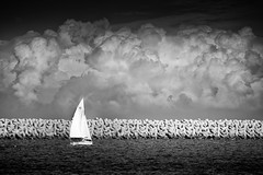 The Wall (edsheadsaid) Tags: ocean sea seascape storm monochrome weather japan clouds landscape harbor boat fishing fisherman nikon sailing ship cloudy harbour hurricane tsunami nikkor kanagawa typhoon seafaring stormfront