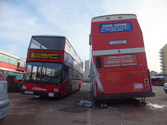 Which way do you lean Sir? (stevenbrandist) Tags: red bus broken station 5 maintenance gibraltar lean terminus number5 citibus g8180b eurohoppa