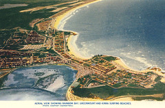 Aerial view showing Rainbow Bay, Greenmount and Kirra Surfing beaches - 1960s (Aussie~mobs) Tags: coolangatta greenmount kirra rainbowbay aerialview vintage