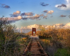 Lost Bridge (Tom Haymes) Tags: railroad sunset clouds texas dusk railroadtrestle austincounty wallistexas abandonedrailroadtrestle austincountytexas