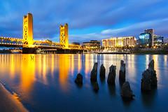Sac Blue Hour (boingyman.) Tags: california ca longexposure bridge yellow towerbridge river landscape cityscape sacramento bluehour scape sacramentoriver boingyman