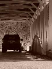 Knox bridge, VAFO national park. (Thiophene_Guy) Tags: auto park bridge blackandwhite bw monochrome car sepia nationalpark automobile pennsylvania olympus pa covered valley knox forge valleyforge originalworks vafo xz1 olympusxz1