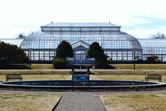 Greenhouse (Kasey Specian) Tags: trees sky fountain glass grass greenhouse benches bushes dukeestate