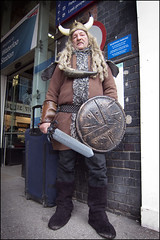 Viking - Stranger 68/100 (World of Tim) Tags: street old city portrait england people man london strange hat station canon project hair march weird photo tim costume long photographer britain south great strangers horns railway case powershot plastic suit odd waterloo stuff sword shield 100 unusual horn viking suitcase dressed saunders s100 2013