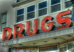 Drugs Sign (podolux) Tags: signs sign newjersey neon riverside letters nj 2006 powershot font neonsign drugstore oldsign neonsigns vintagesign oneword postprocessing burlingtoncounty photomatix december2006 canonpowershots3is powershota540 fontspotting southernnj oneworddrugs photomatixformac