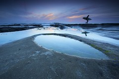 Surfboard Pothole (ernogy) Tags: california ca sunset sea sky reflection beach clouds pacific sandiego outdoor surfer wideangle lajolla motionblur ernogy