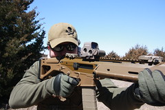 Ghost with his FDE ACR (kkonishi) Tags: sun tree green hat shot ghost rifle tan sunny gloves shooting acr eotech bushmaster fde magpul