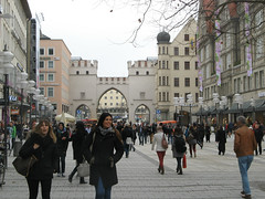 Karlstor and Neuhauser Street in Munich, Bavaria - Germany (Laura713) Tags: street germany mnchen bayern bavaria gate mnich pedestrianarea karlstor 2013 karlsgate neuhauserstreet