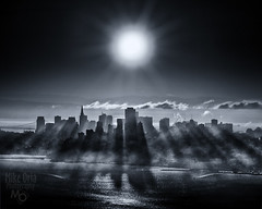 CityShadows (Explore #263) (mikeSF_) Tags: california blue sunset shadow bw cloud white black tower mike fog skyline america sunrise landscape photography mono san francisco pyramid pentax duo bank wells transamerica fargo k5 bofa toning oria httpmikeoriazenfoliocom