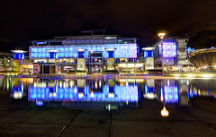 Millenium square reflection (Stokeparker) Tags: uk england reflection water night bristol wideangle hdr harbourside milleniumsquare photomatix tokina1116mm nikond7000