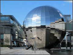Reflections (pefkosmad) Tags: city uk england urban reflection modern publicspace bristol mirror globe orb sphere planetarium harbourside millenniumsquare