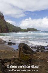 Kaihalulu Red Sand Beach on the Road to Hana JN074092 (JaniceNolan_braud) Tags: ocean beach hawaii dangerous maui pacificocean tropical roadtohana roughwater redsandbeach roughocean kaihaluluredsandbeach