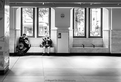 Better in company (Miguel Da Silva Photography) Tags: people portraiture portrait blackandwhite monochrome interior station streetphotography street company persons centraal amsterdam