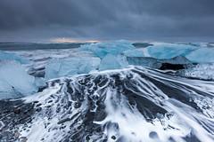 Ice beach at jokulsarlon, Iceland. (Kanonsky) Tags: arctic beach beautiful black blue cloudy cold europe glacier ice iceberg iceland jokulsarlon lagoon landscape nature north ocean sand sea sunrise volcanic wave winter