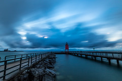 Sunset in Charlevoix - explore (Kevin Povenz) Tags: 2016 august kevinpovenz michigan charlevoix sunset longexposure blue evening night dusk lighthouse lakemichigan pier canon7dmarkii clouds light